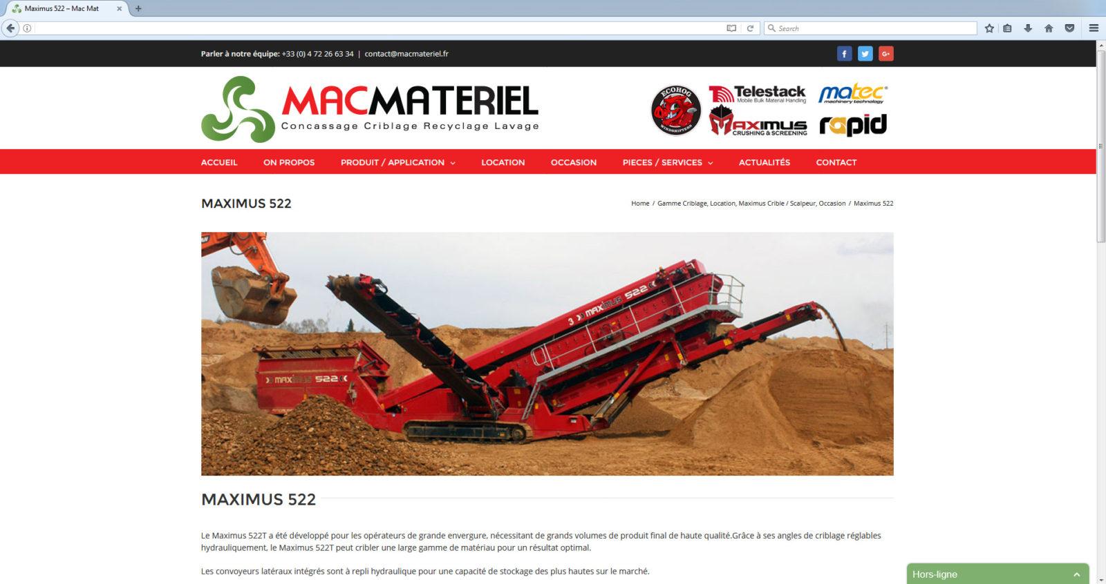Nouveau site Web MACMATERIEL